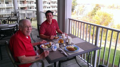 Dad is enjoying breakfast with his grandson and my nephew Patrick Yorkgitis at Heisinger Bluffs, where my father lived from 2007 to 2013. Heisinger and its sister facility, St. Joseph,  held a memorial service  in honor of deceased residents.
