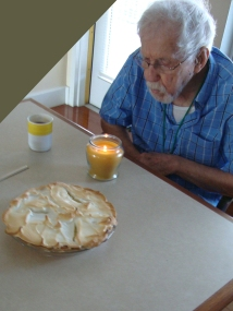 Dad liked the sweet and tangy taste of lemon desserts. For his 88th birthday, I made him this meringue pie. I didn't think the pie could handle a candle, so I brought one of my jar candles for him to blow out.