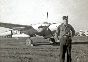 Ed poses in an Italian airfield, 1944. While he was stationed in Italy, he lived with an Italian family. During our presentation at my daughter's school, I read from his journal about a meal he shared with the Italian family.